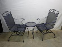2 Dark Blue wrought iron chairs & small table