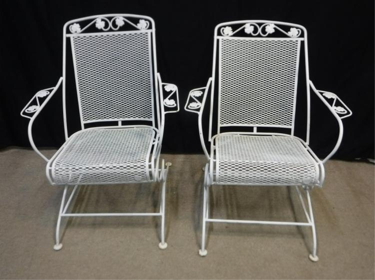 2 white wrought iron vintage spring chairs