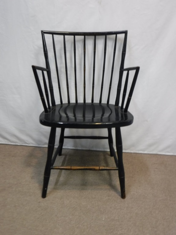 Black spindle back arm chair
