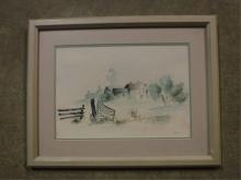 Framed watercolor by Feiler