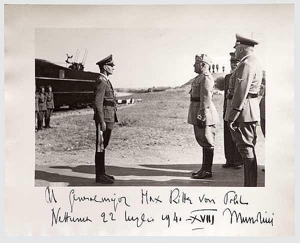 Benito Mussolini - Widmungsfoto an Generalmajor Max Ritter von Pohl 1940.