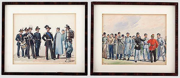 Quinto Cenni (1845 - 1917) - zwei Uniformstudien.