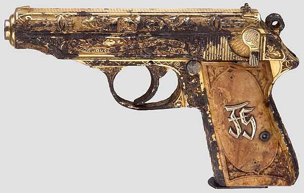 Fritz Sauckel - gravierte und vergoldete Geschenk-Walther PP