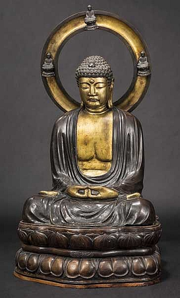 A large bronze figure of Amida, 2nd half of Edo period
