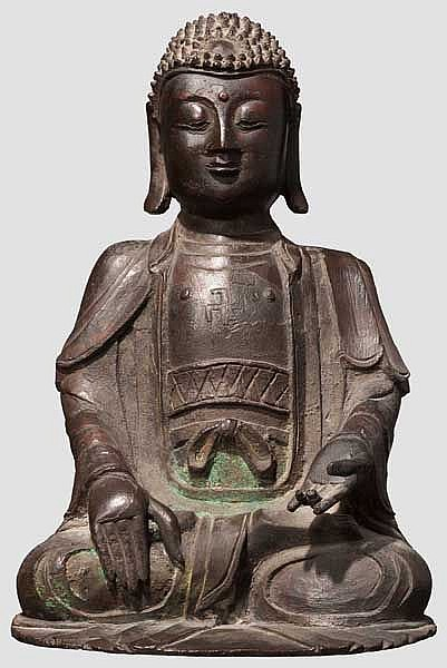 A figure of Buddha bhumisparsa (earth witness) mudra, 2nd half of Edo period