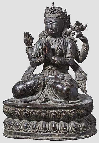 A Chinese bronze figure of Sadaksharilokesvara, late Ming period