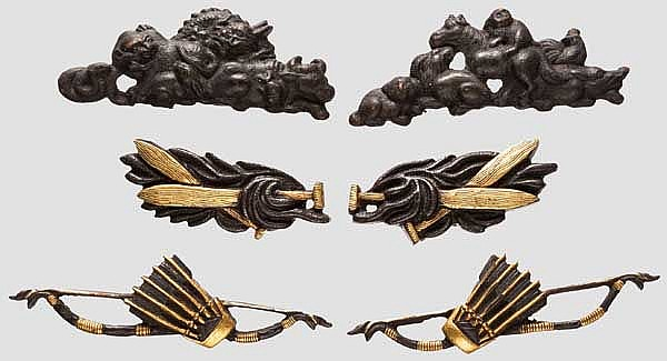 Three pairs of menuki, late Edo period