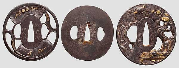 Three tsuba, 2nd half of Edo period