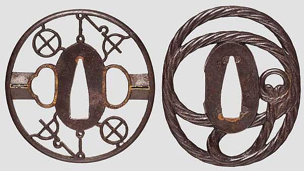 Two sukashi tsuba, 2nd half of Edo period