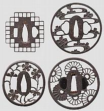 Four sukashi tsuba, mid Edo period