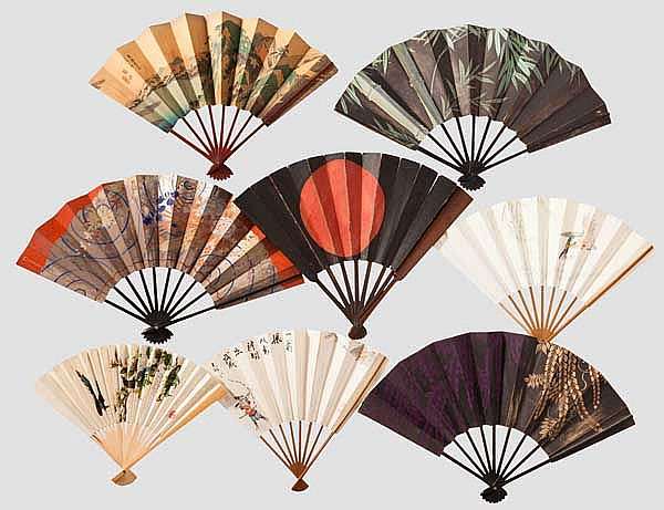 A Japanese gunsen and seven fans, 19th/20th century
