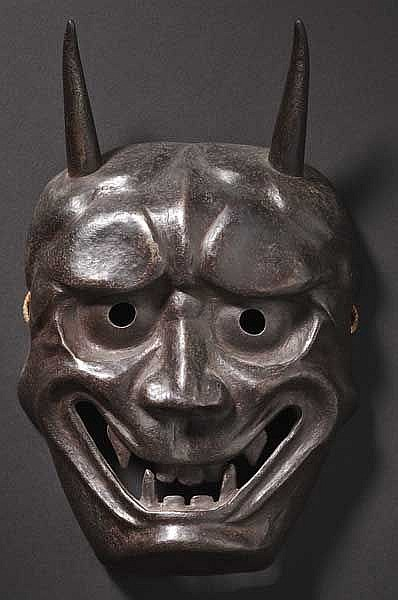 An iron oni mask, Meiji period