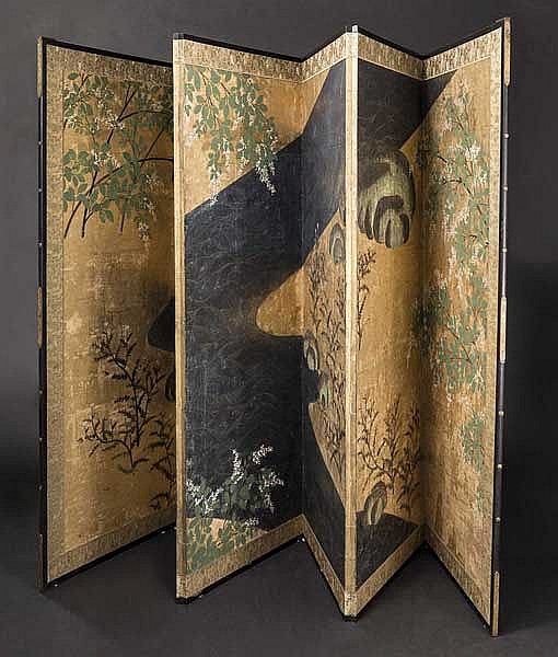 A byobu (folding screen), Meiji period