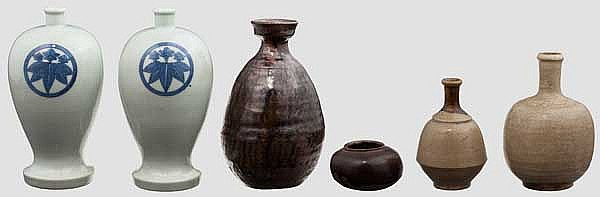Six ceramic vessels, Meiji period