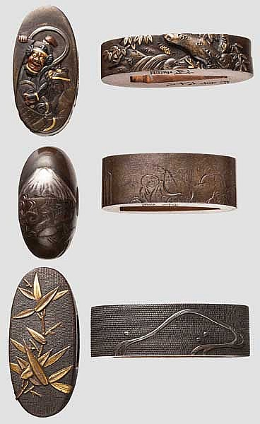 Three pairs of fuchi kashira, late Edo period