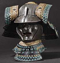 A 64-plate suji kabuto with mempo, 2nd half of Edo period