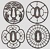 Four sukashi tsuba, mid and late Edo period