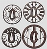 Four sukashi tsuba, mid and late Edo period