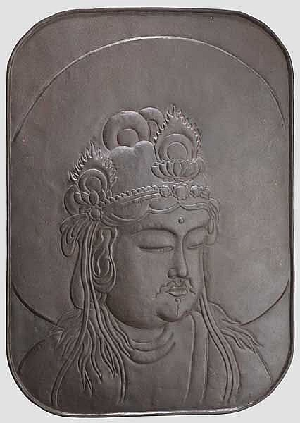 An uchidashi decorative plate with Amida head, mid Edo period
