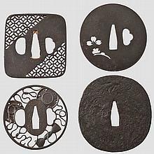 Four tsuba, early to mid Edo period