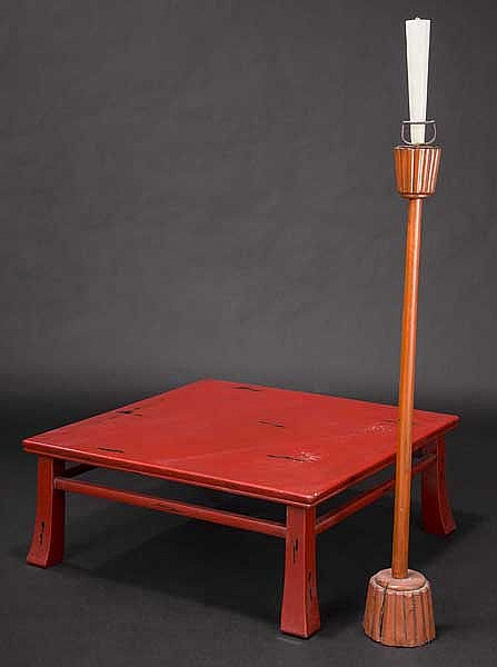 A red lacquered table and candlestick, Meiji period