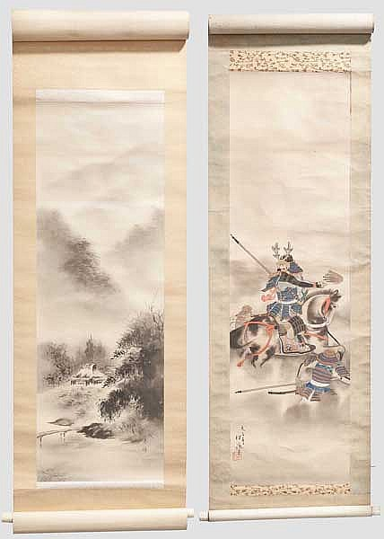 Two kakemono, Meiji and Taisho period