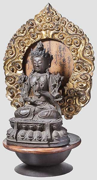 A Chinese bronze figure of Guanyin, late Ming period