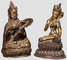 Two Nepalese bronze figurines, 19th century