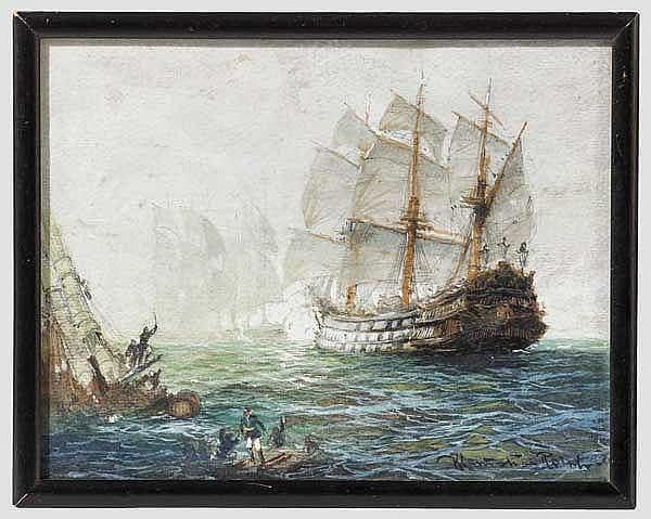 Barocke Seeschlacht um 1740, Gouache auf Karton, um 1900