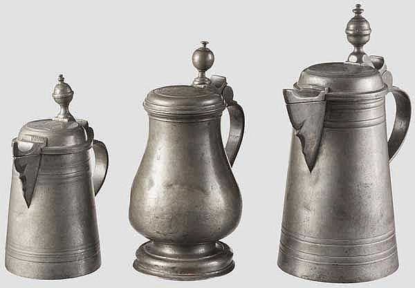 Drei Krüge, Böhmen, frühes 19. Jhdt.