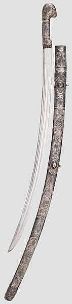 Silbermontierte Schaschka, Kaukasus um 1900
