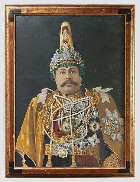 Großformatiges Portrait des Maharadschas Dev Shumshere um 1900