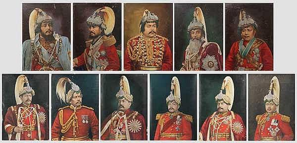 Elf Portraits verschiedener, nepalesischer Maharadschas, 1. Hälfte 20. Jhdt.