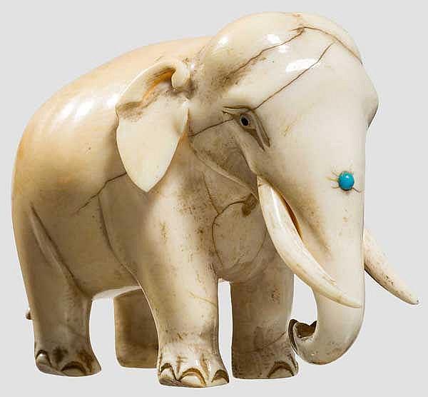 Elfenbeinfigur Elefant, Indien, 19. Jhdt.