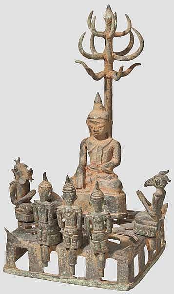 Buddha mit Figurengruppe, Siam/Kambodscha, 15. - 18. Jhdt.