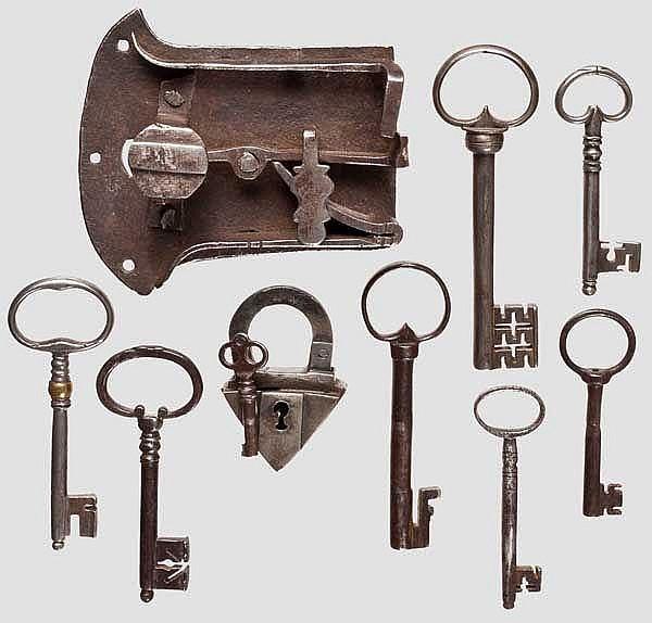 Zwei Schlösser und sieben Schlüssel, deutsch, 16. - 18. Jhdt.