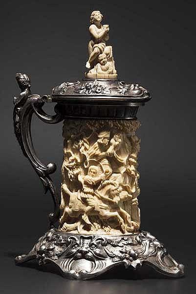 Silbermontierter Elfenbeinhumpen im Barockstil, deutsch um 1860