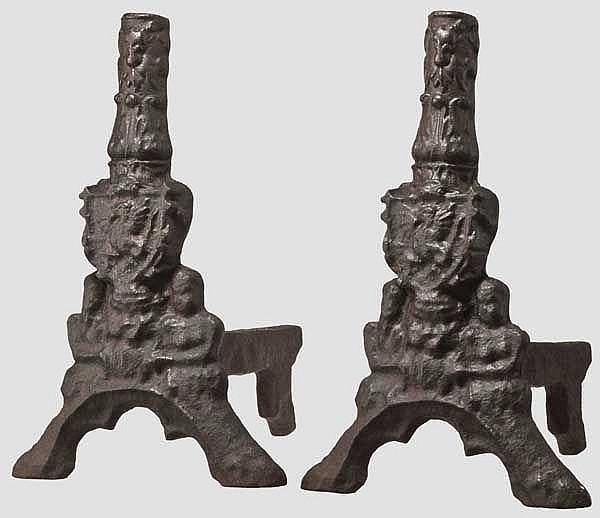 Ein Paar spätgotische Feuerböcke, Frankreich, 16. Jhdt.