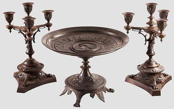 Dreiteilges Tischset aus Eisenguss, Gießerei Offenbach um 1840/50
