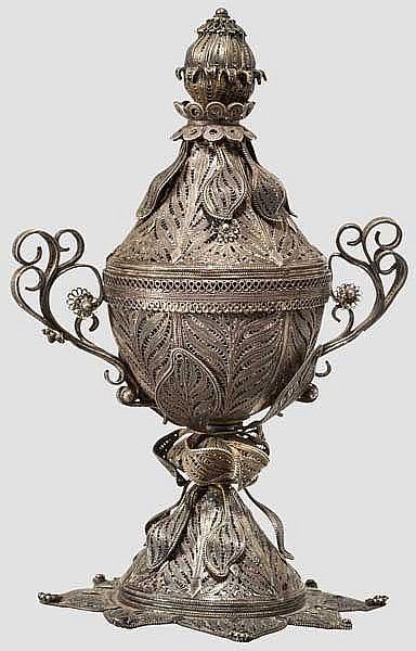 Zierpokal aus filigranem Silber, osmanisch, 19. Jhdt.
