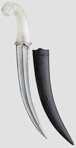 Kandschar mit Griff aus Bergkristall, Indien, 20. Jhdt.