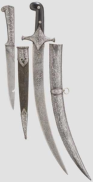 Silbertauschierter Kard und kurzer Shamshir, Indien, 20. Jhdt.