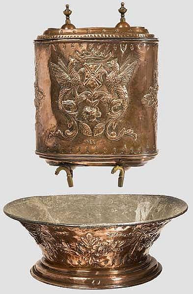 Kupferner Wandbrunnen, Frankreich, datiert