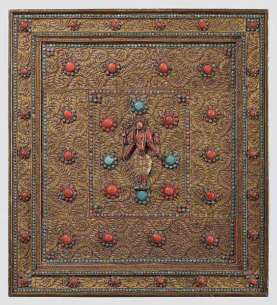 Filigran gearbeitetes, religiöses Schmuckbild, Tibet, 20. Jhdt.
