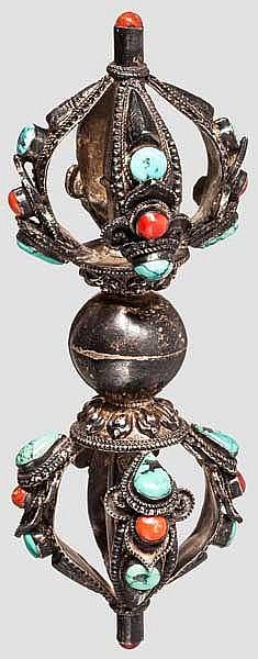 Silbernes, steinbesetztes Phurbu, Tibet, 20. Jhdt.