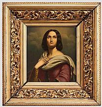 Weibliche Heilige im Stil von Friedrich Wilhelm Schadow (1788 - 1862), Mitte 19. Jhdt.
