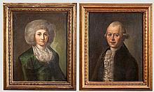 Zwei Portraits eines adeligen Herrn und seiner Dame, deutsch, Ende 18. Jhdt.