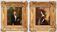Ein Paar viktorianische Portraits, englisch, datiert 1847 bzw. 1849