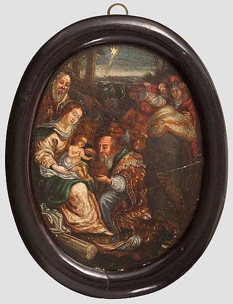 Die heilige Familie mit den hl. drei Königen, Italien um 1600