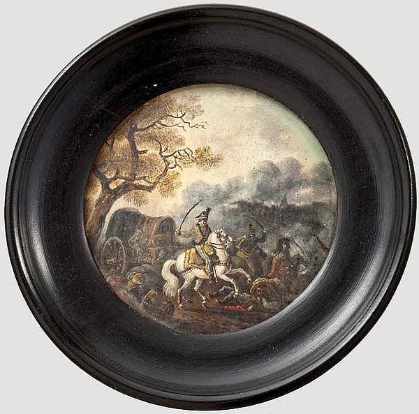 Miniatur-Schlachtengemälde, deutsch oder französisch, 2. Hälfte 18. Jhdt.